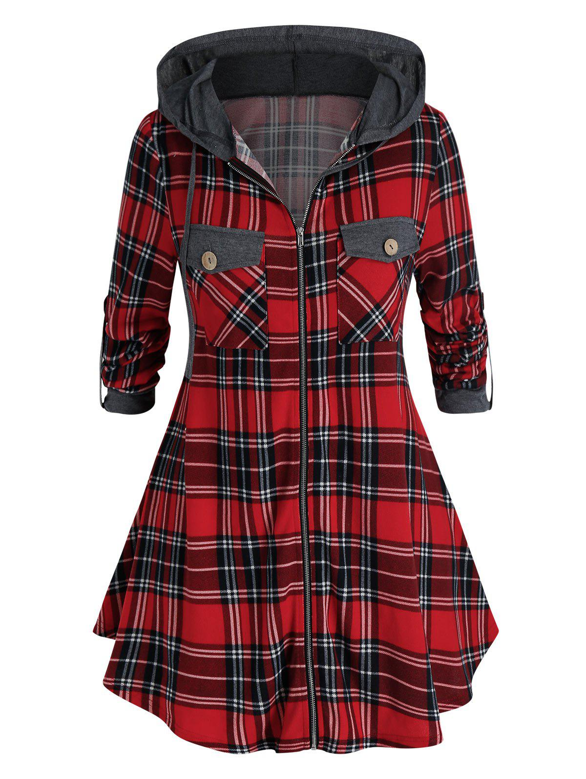 Plus Size Hooded Plaid Dual Pocket Zip Up Coat - LAVA RED 4X