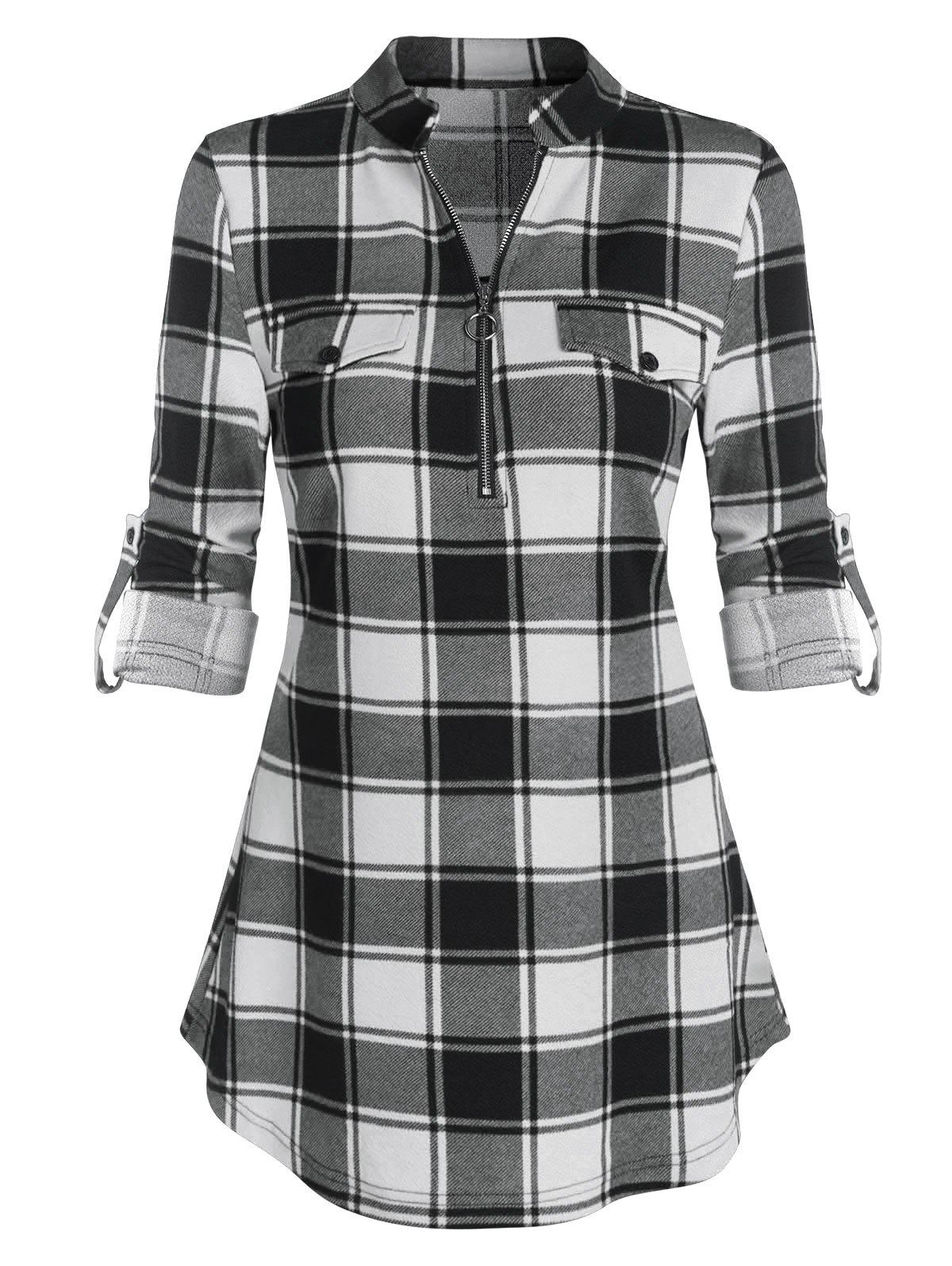 Plaid Print Cuffed Sleeve Half Zip Blouse - BLACK 3XL