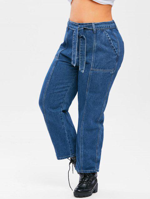 Plus Size Belted Topstitching Wide Leg Jeans