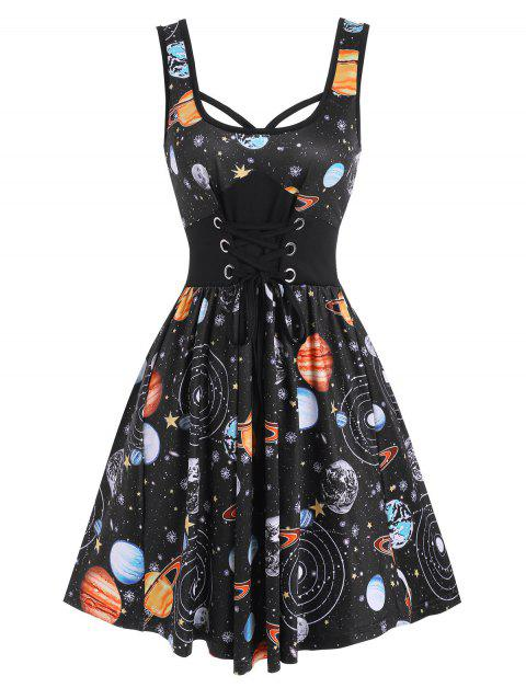 Galaxy Planet Print Lace-up Casual Tank Dress