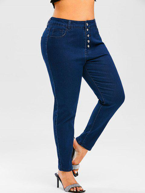 Plus Size Button Fly Pintuck Jeans
