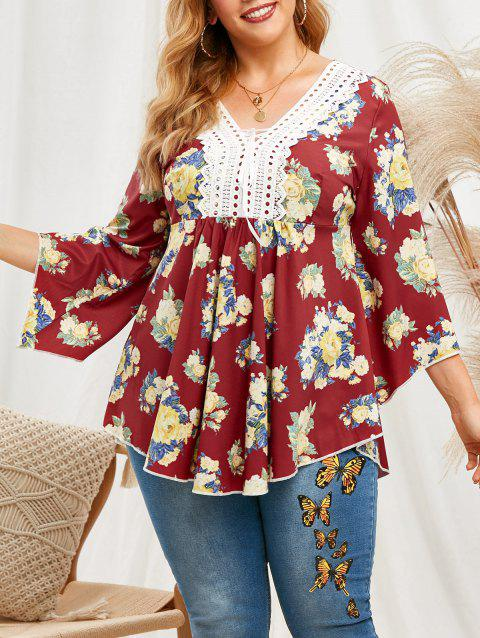 Floral Lace Patched Lace Up Flare Sleeve Plus Size Blouse