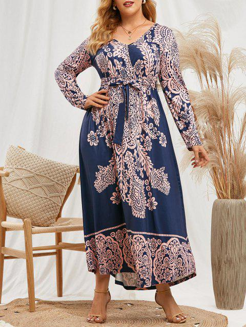 Plus Size Printed Belted Maxi Long Sleeve Dress