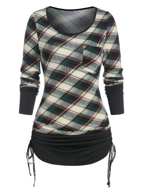 Checked Pocket Cinched T Shirt