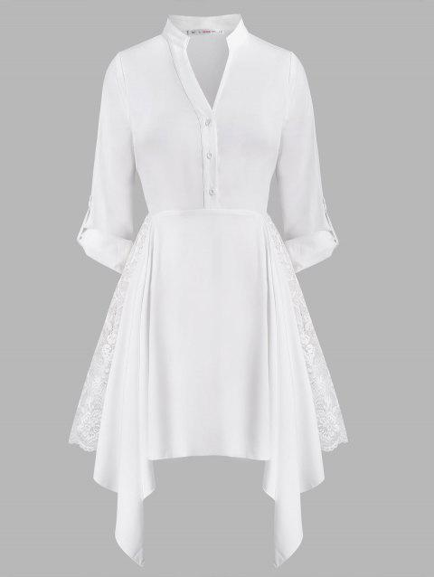 Lace Panel Button Front Handkerchief Plus Size Shirt Dress