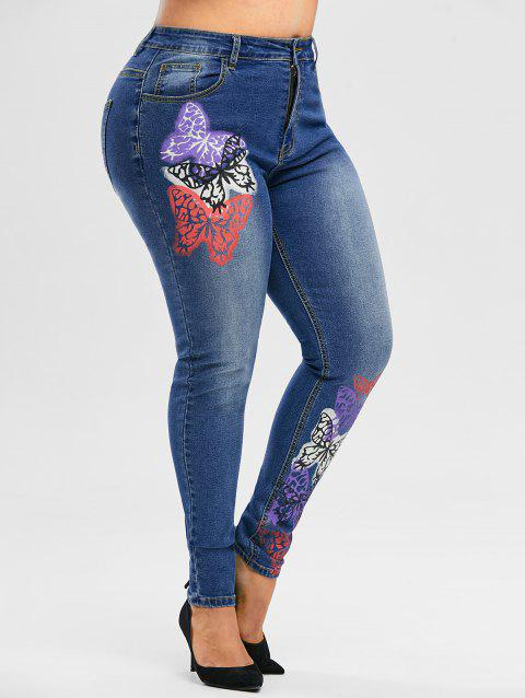 Multicolored Butterfly High Waisted Plus Size Skinny Jeans