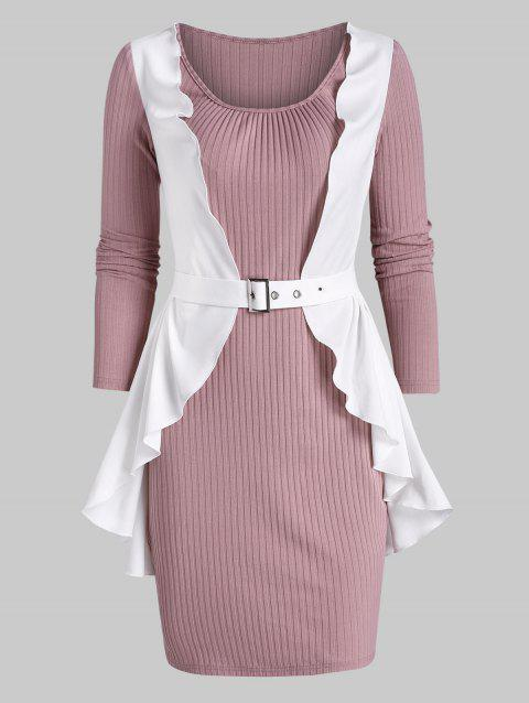 Ruffle Detail Ribbed Twofer Bodycon Dress