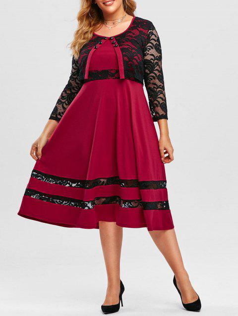 Plus Size Lace Insert Midi Cape Dress