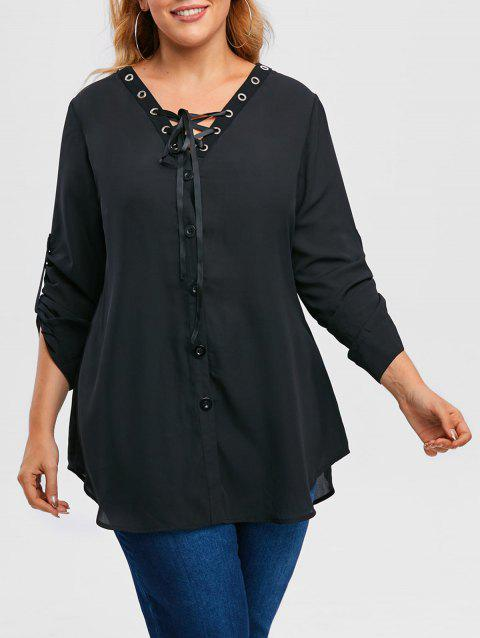 Plus Size Lace Up Roll Up Sleeve Chiffon Top