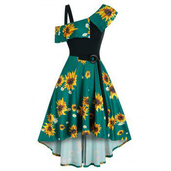 Printed Sunflower O Ring Belt A Line Dress