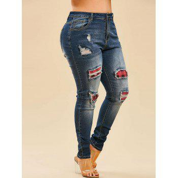 Plaid Panel Ripped Plus Size Skinny Jeans