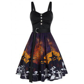 Halloween Pumpkin Skull Print Mock Button Belted Cami Dress