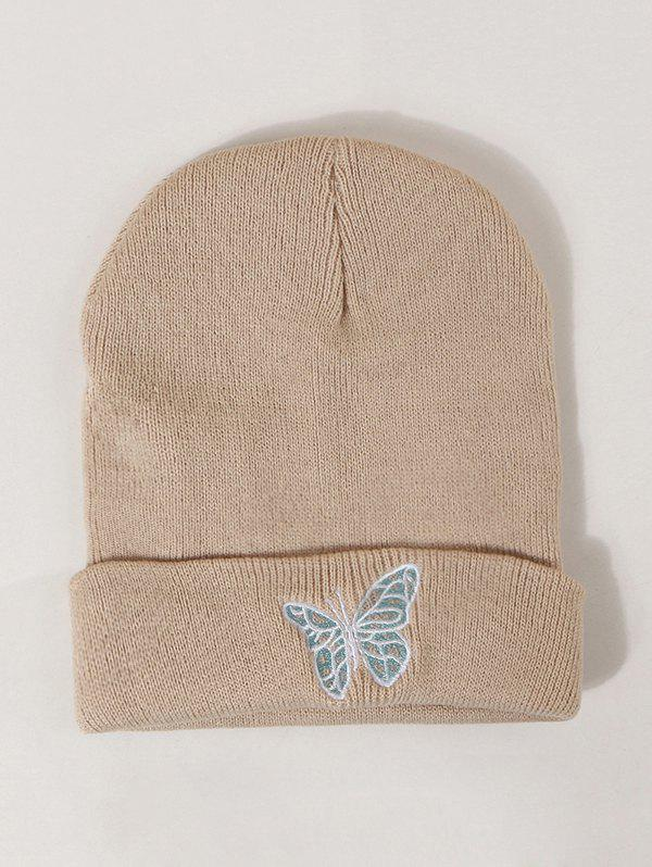 Embroidered Butterfly Pattern Elastic Knitted Hat - KHAKI