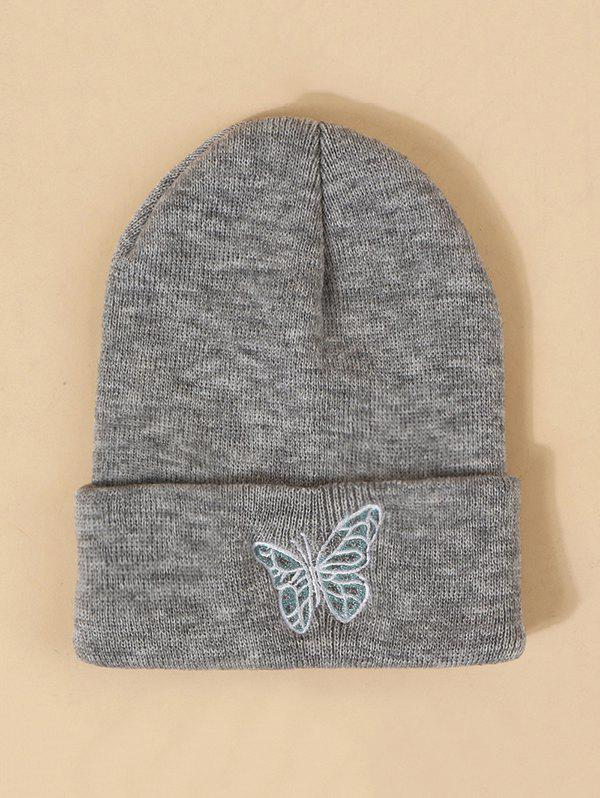 Embroidered Butterfly Pattern Elastic Knitted Hat - GRAY