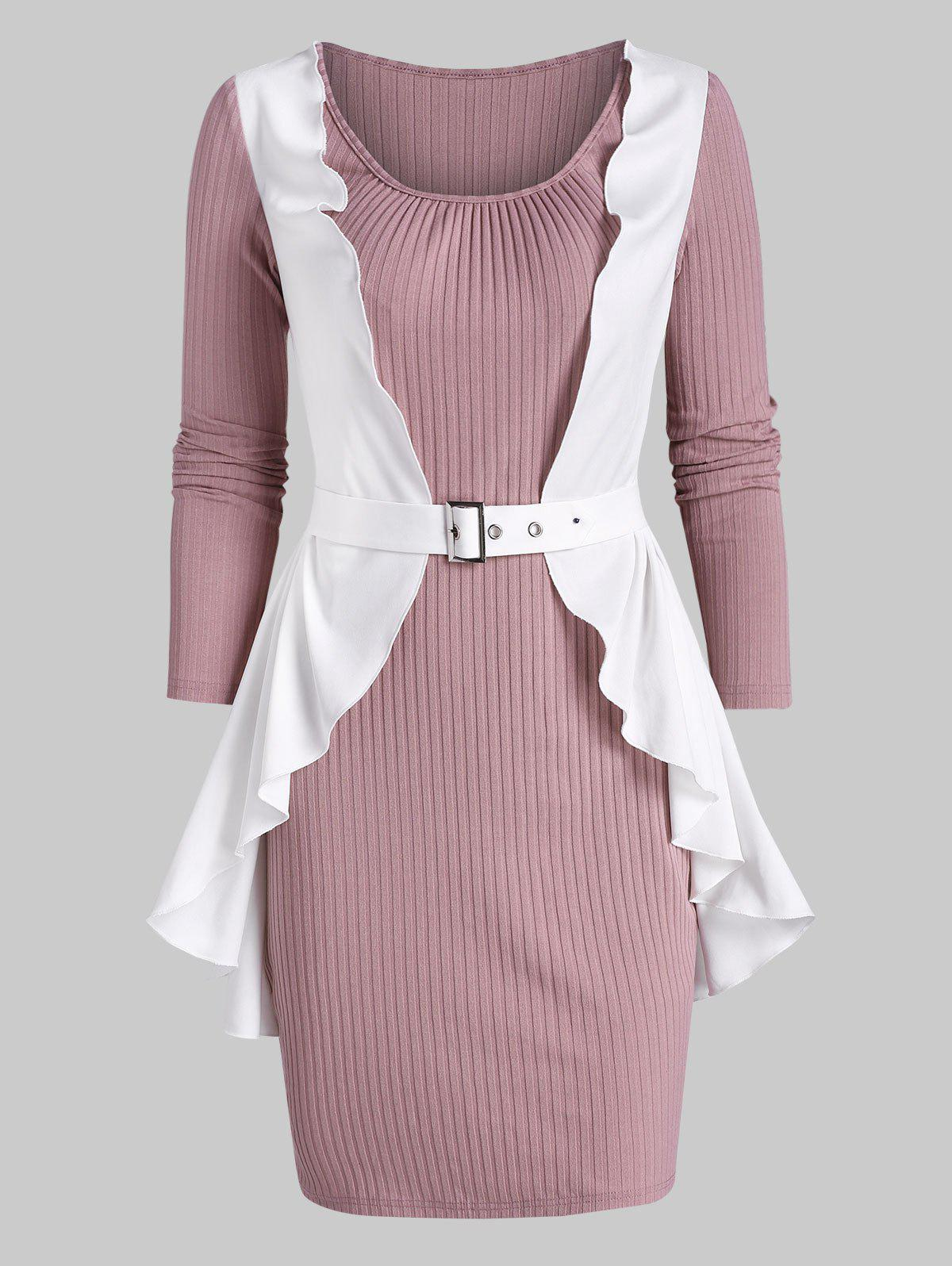 Ruffle Detail Ribbed Twofer Bodycon Dress - PINK 2XL