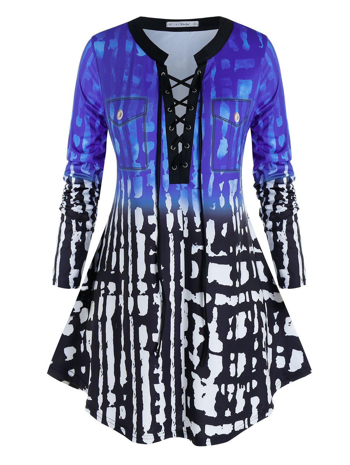 Plus Size Lace-up Pocket Printed Long Sleeve Top - DEEP BLUE 5X