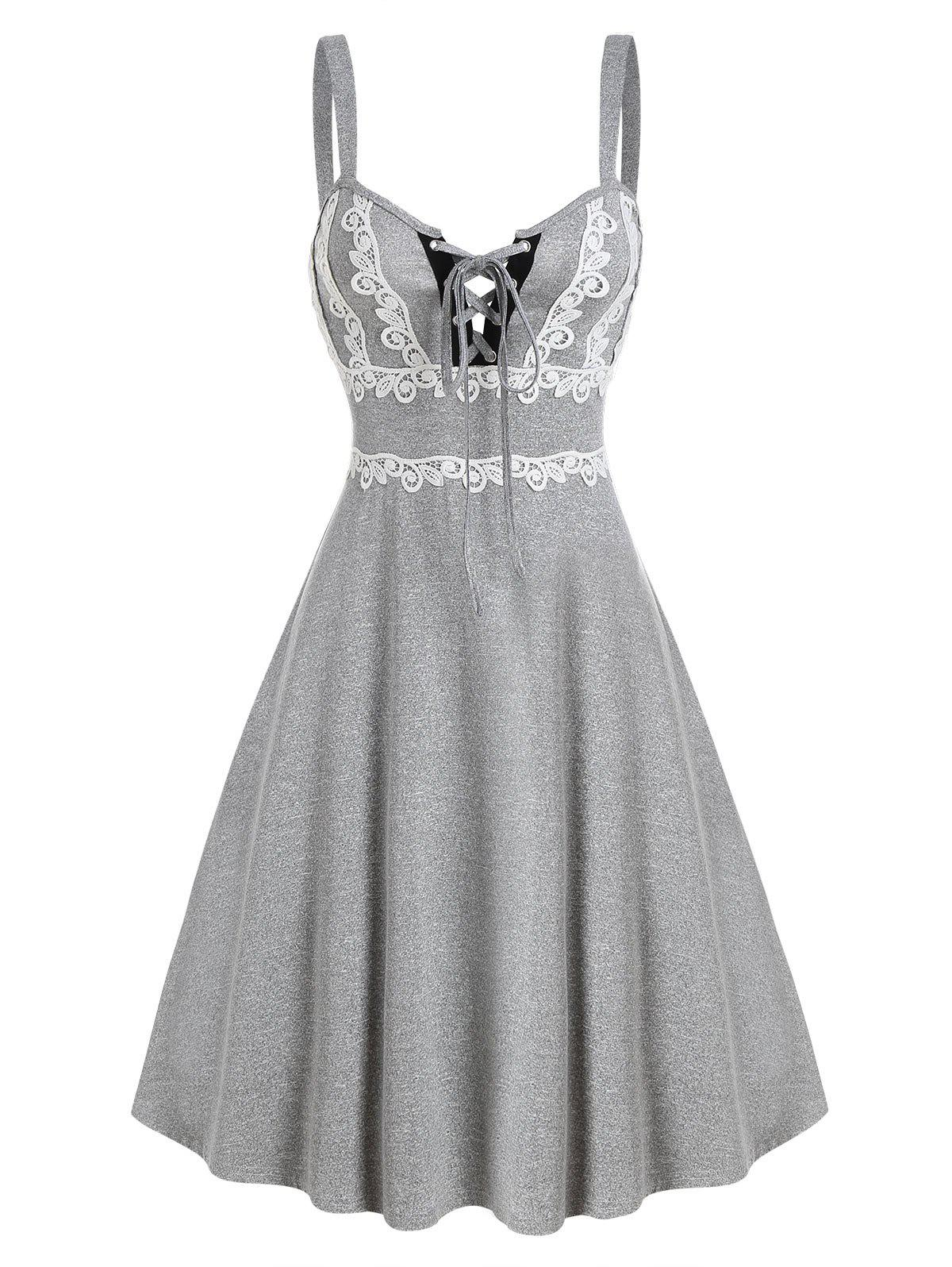 Lace Up Lace Insert Mini Cami Dress - LIGHT GRAY L