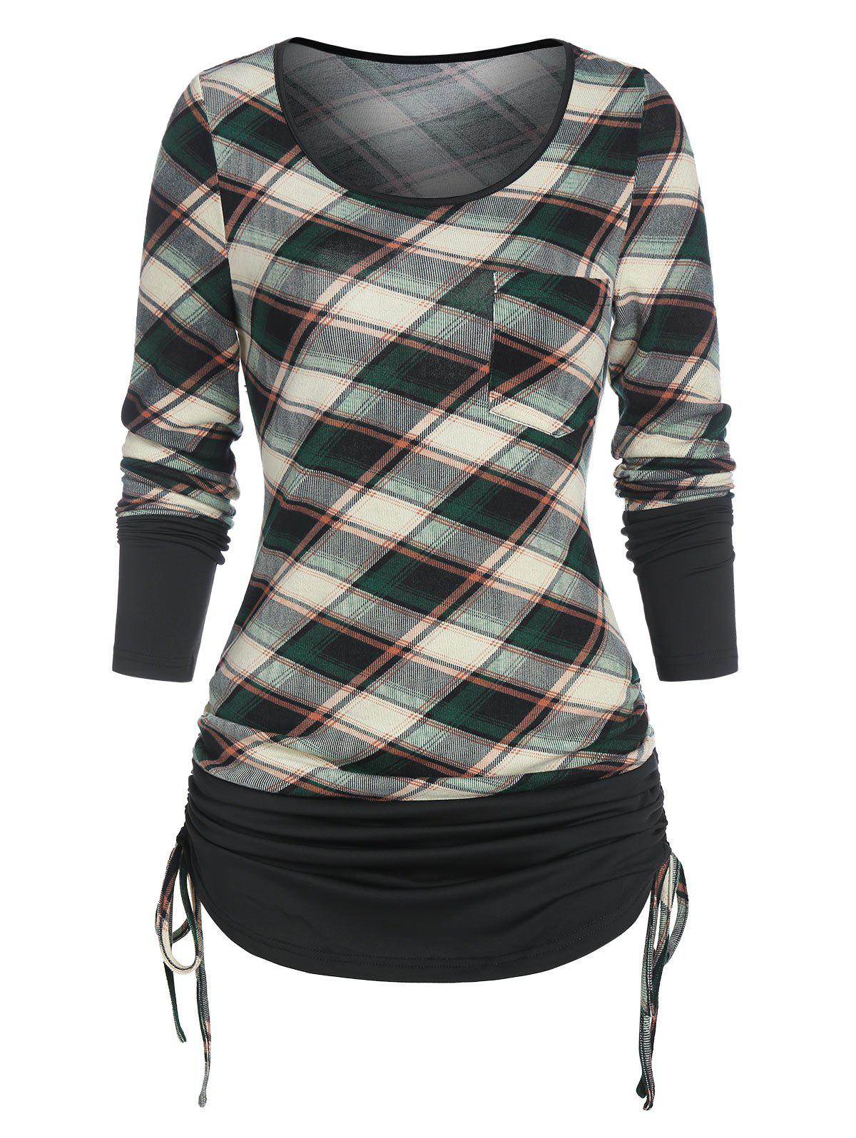 Checked Pocket Cinched T Shirt - LIGHT GREEN S