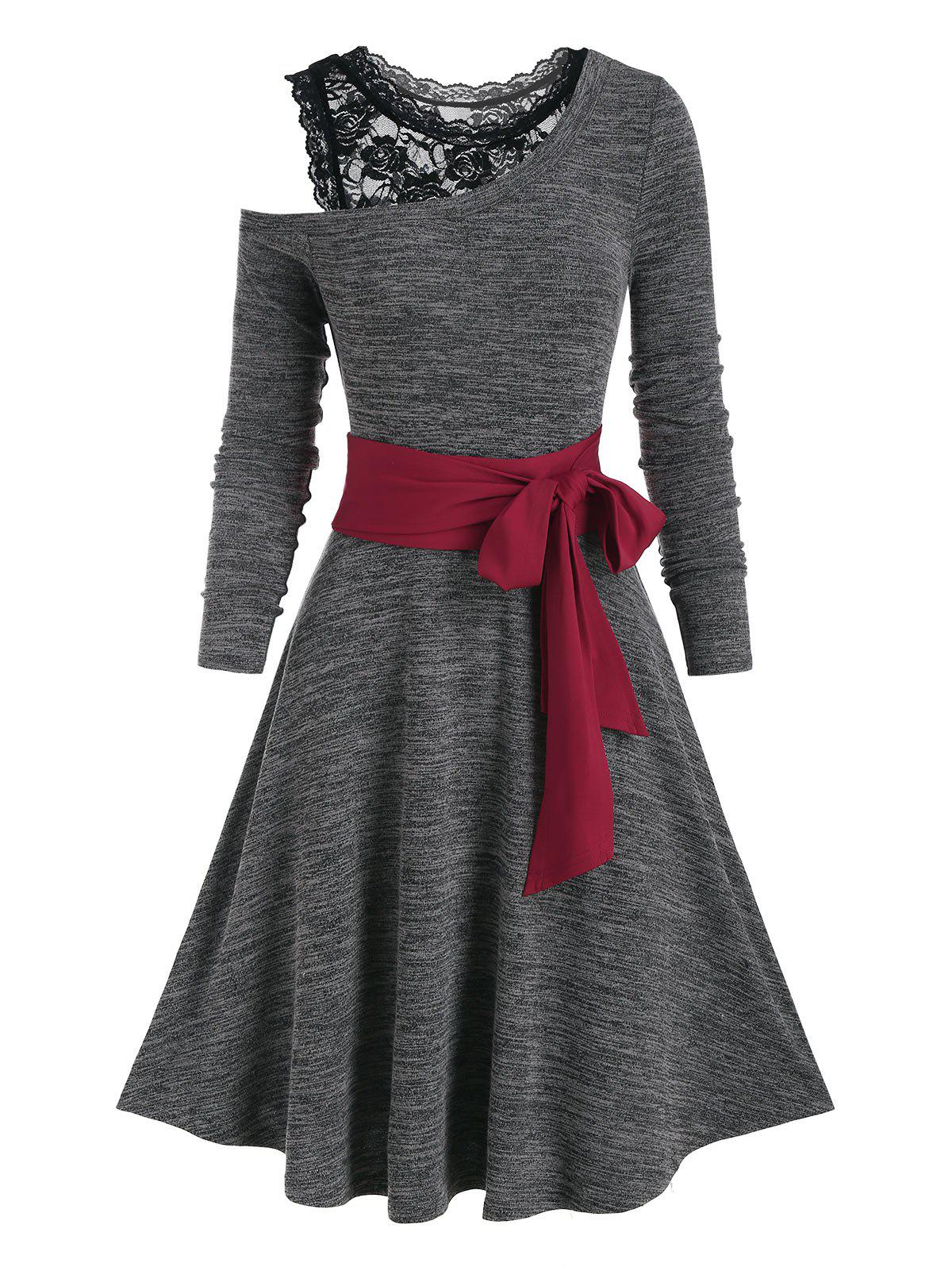 Open Shoulder Lace Panel Contrast Belted A Line Dress - DARK SLATE GREY XL