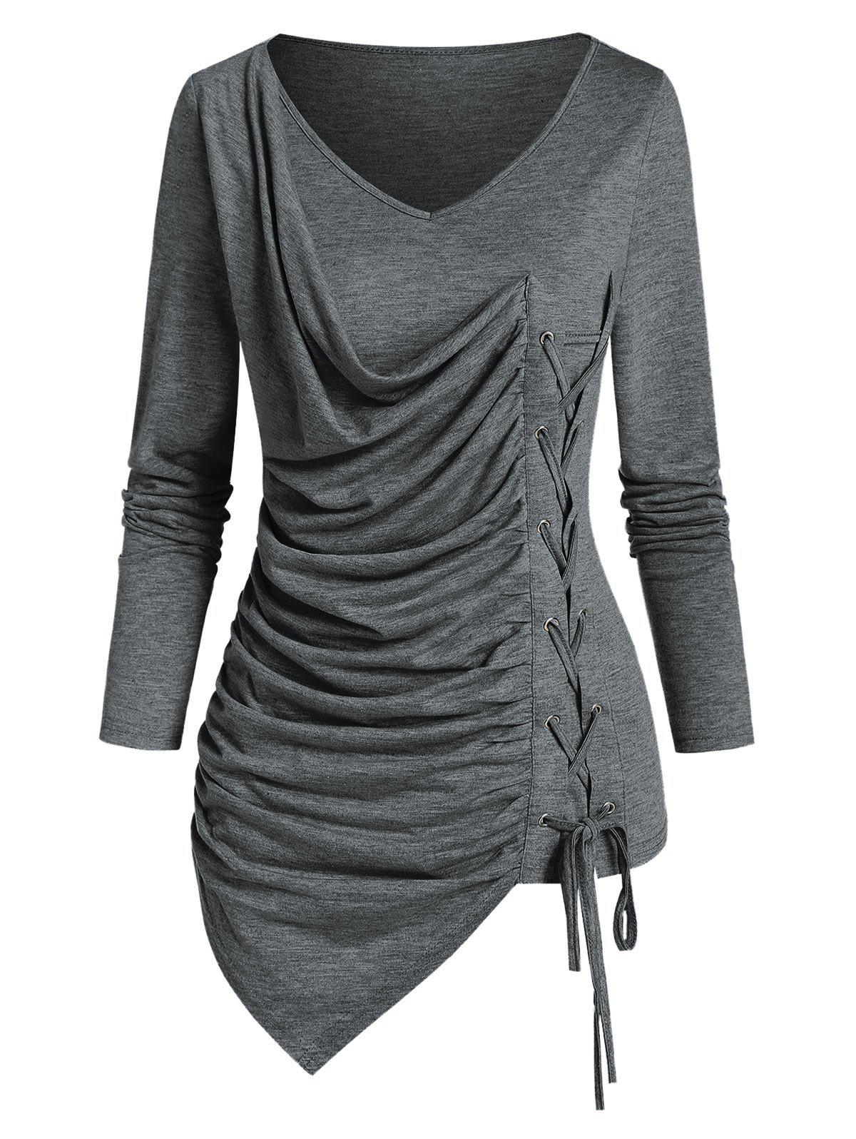 V Neck Lace Up Ruched Asymmetrical T Shirt - DARK GRAY S