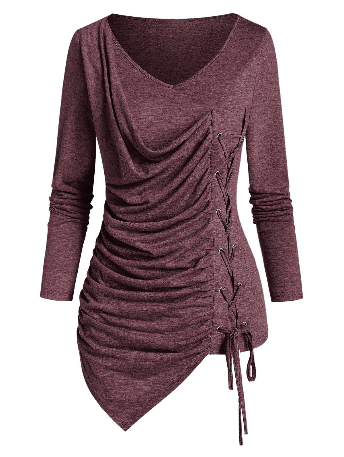 V Neck Lace Up Ruched Asymmetrical T Shirt - ROSY FINCH 2XL