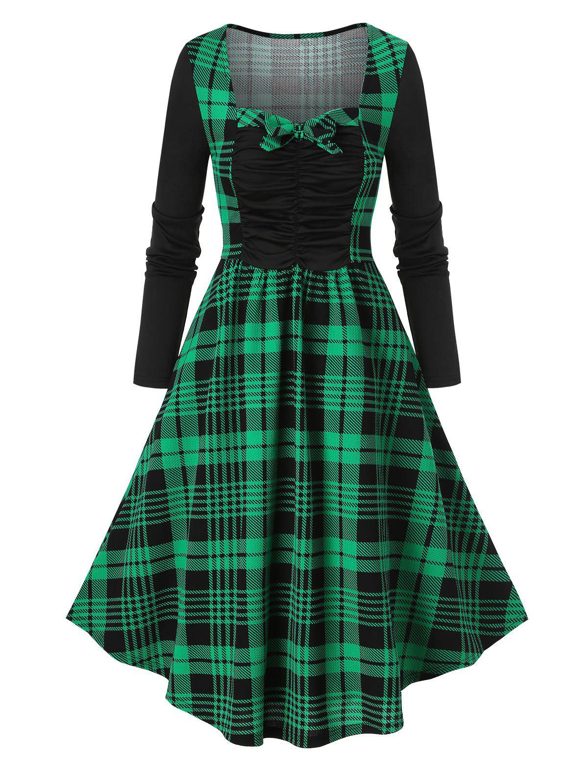 Plaid Print Bowknot Ruched Vintage Dress - DEEP GREEN 3XL