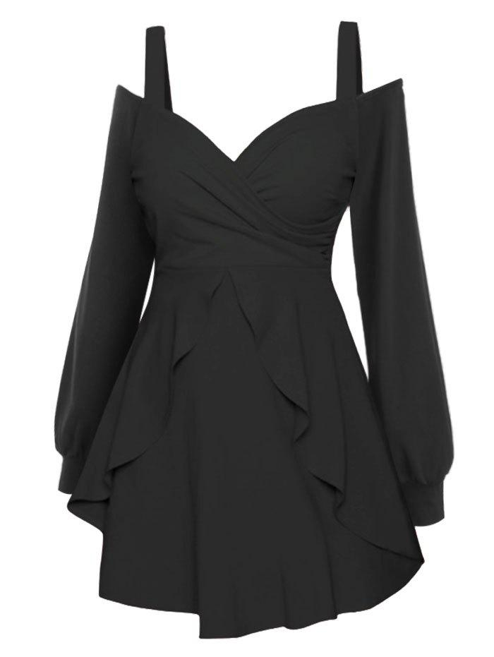 Long Sleeve Cold Shoulder Overlay Dress - BLACK XL
