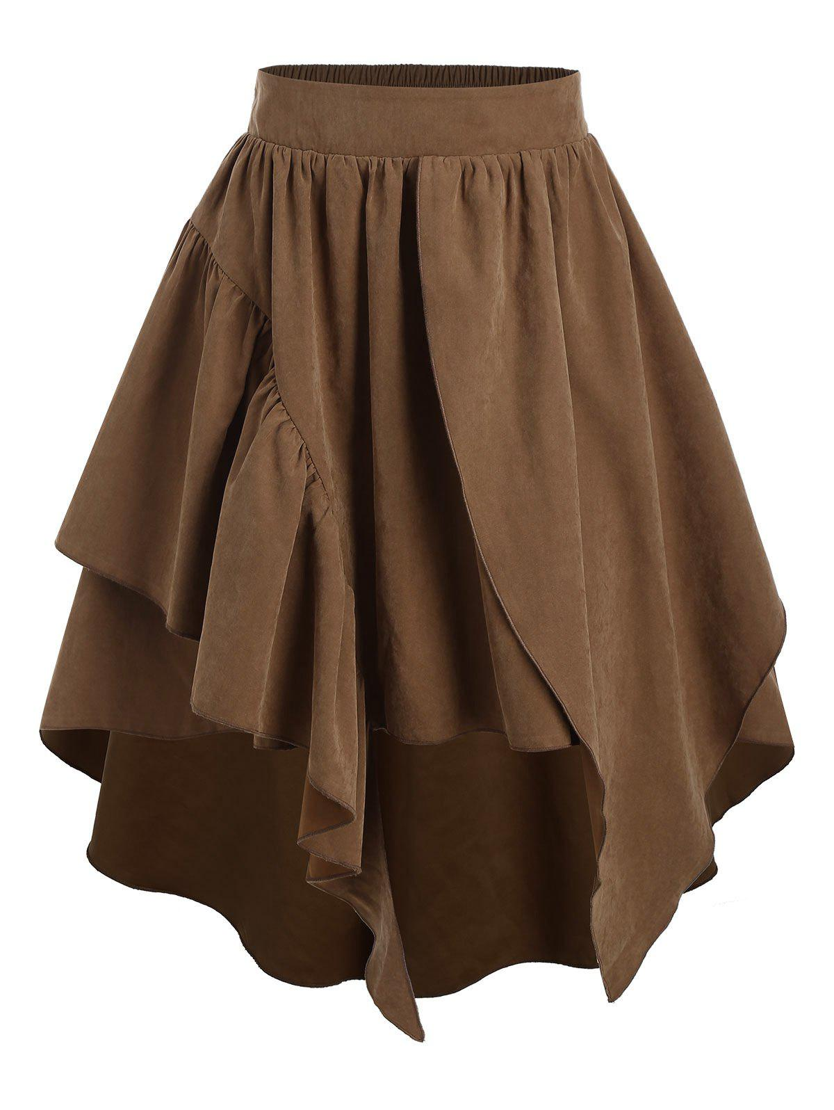 Plain Layered Asymmetrical Elastic Waist Skirt - COFFEE 3XL