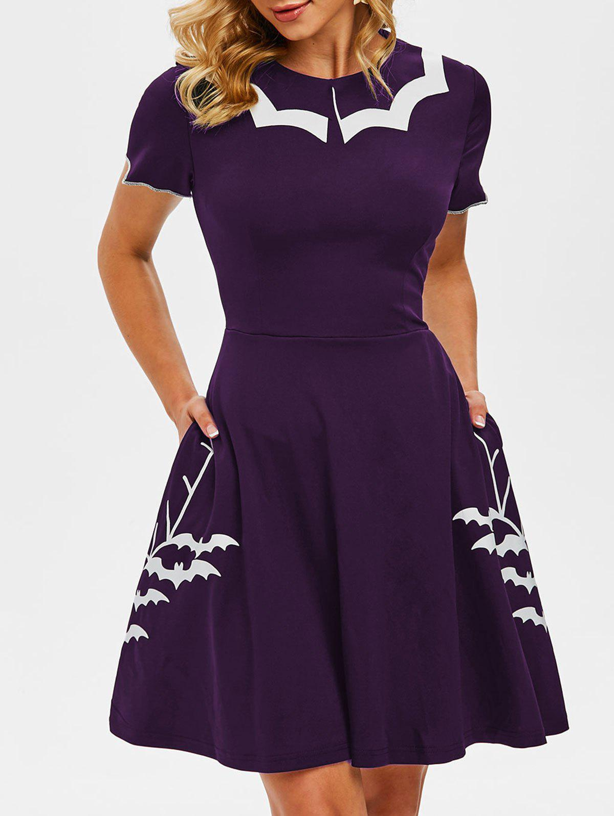 Flat Collar Halloween Bat Print Side Pocket Dress - CONCORD 3XL
