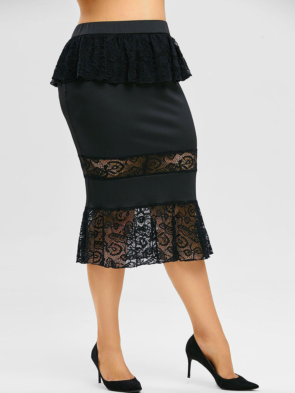 Plus Size Ruffled Lace Insert Midi Fishtail Skirt - BLACK 3X