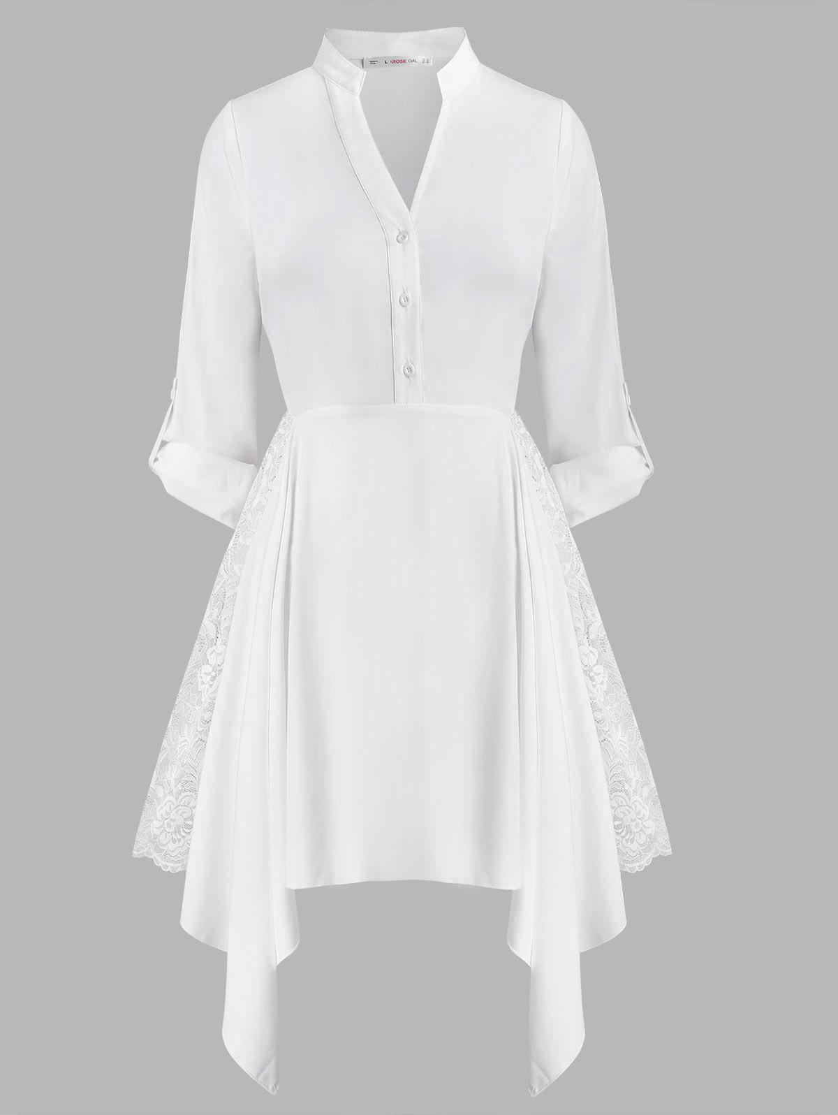 Lace Panel Button Front Handkerchief Plus Size Shirt Dress - WHITE 5X
