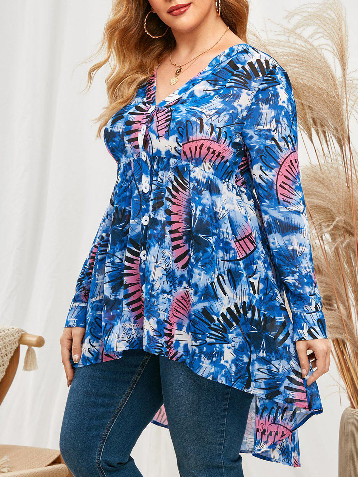 Plus Size Tie Dye Roll Up Sleeve High Low Top - BLUEBERRY BLUE 5X