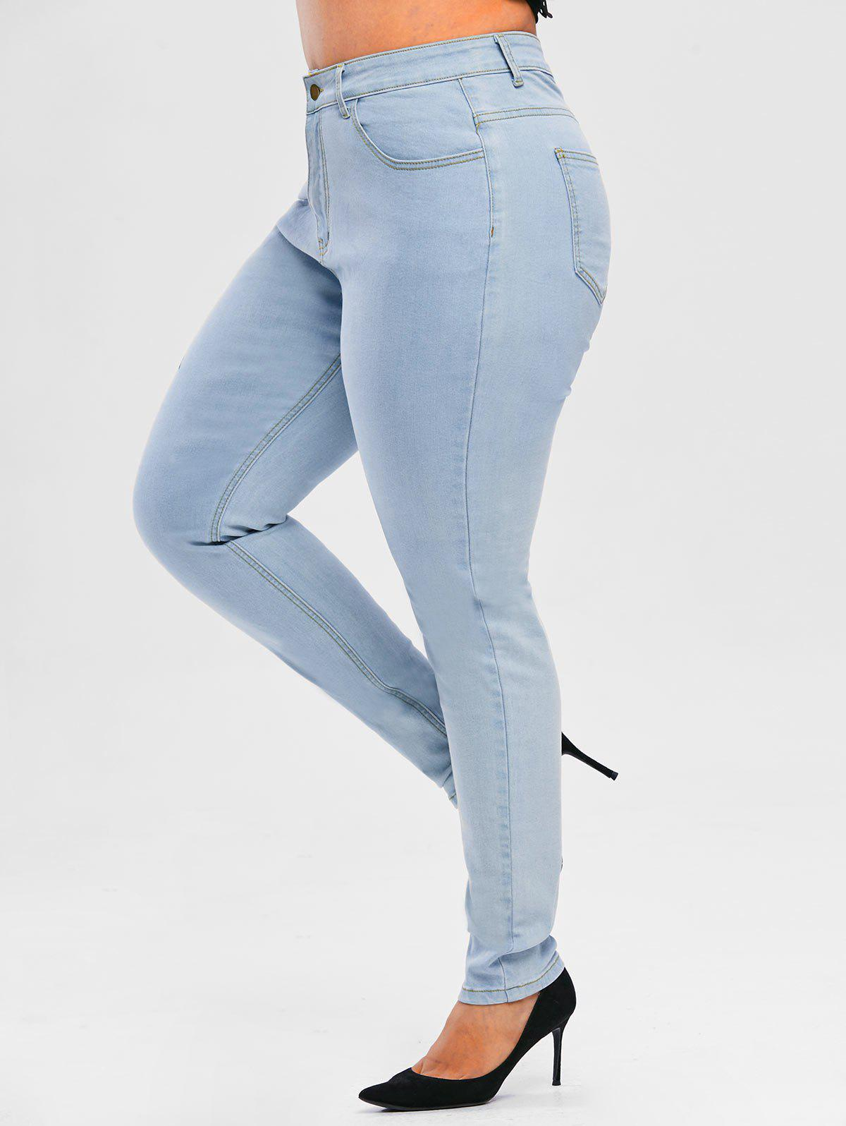 Floral Side Light Wash Plus Size Skinny Jeans - LIGHT BLUE 1X