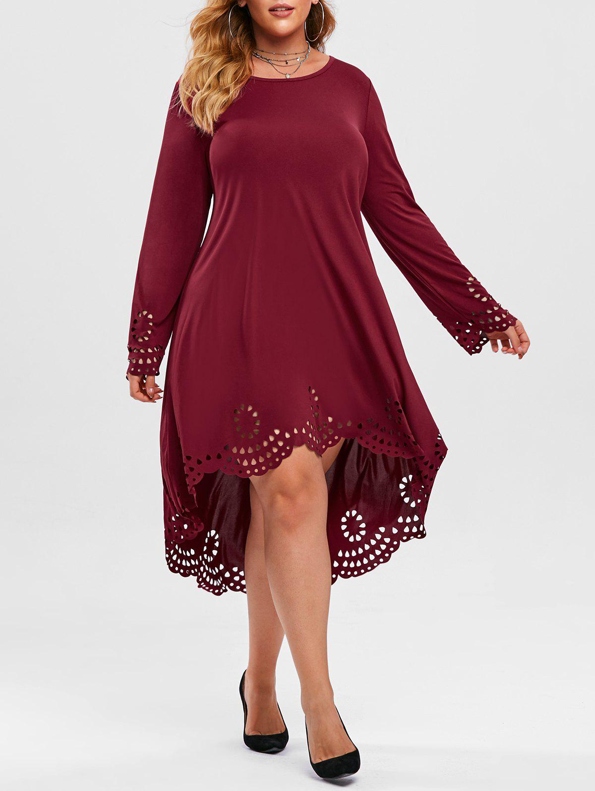 Plus Size High Low Laser Cut Dress - DEEP RED 4X
