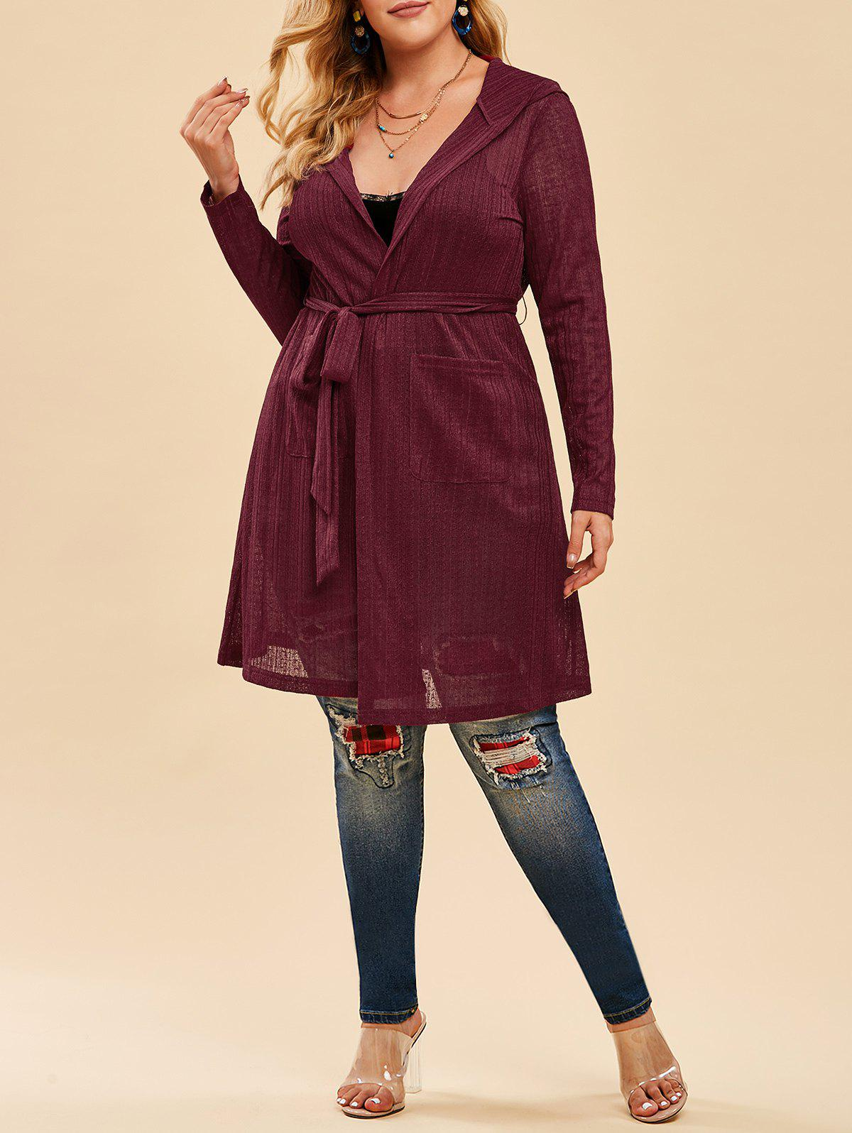 Plus Size Hooded Open Front Belted Cardigan - RED WINE 5X