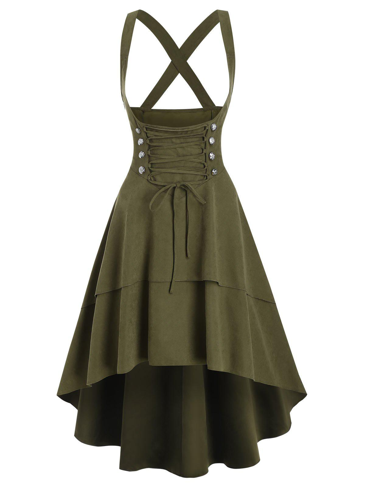 Mock Double Button Layered High Low Suspender Skirt - ARMY GREEN L