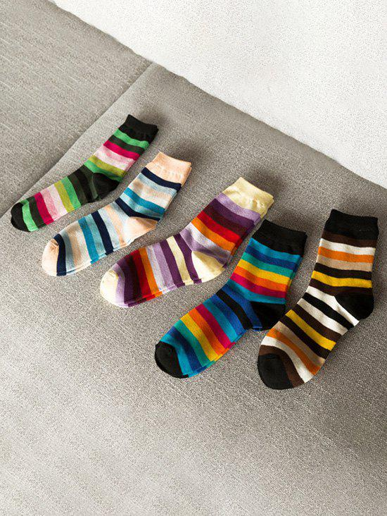 5 Pairs Rainbow Colored Stripes Socks Set - multicolor A