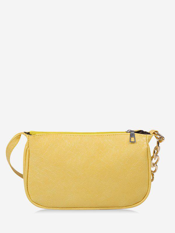 Brief Solid Chain Shoulder Bag - SUN YELLOW