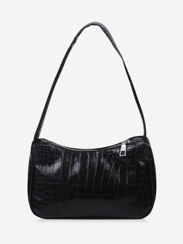French Style Solid Textured Shoulder Bag - BLACK