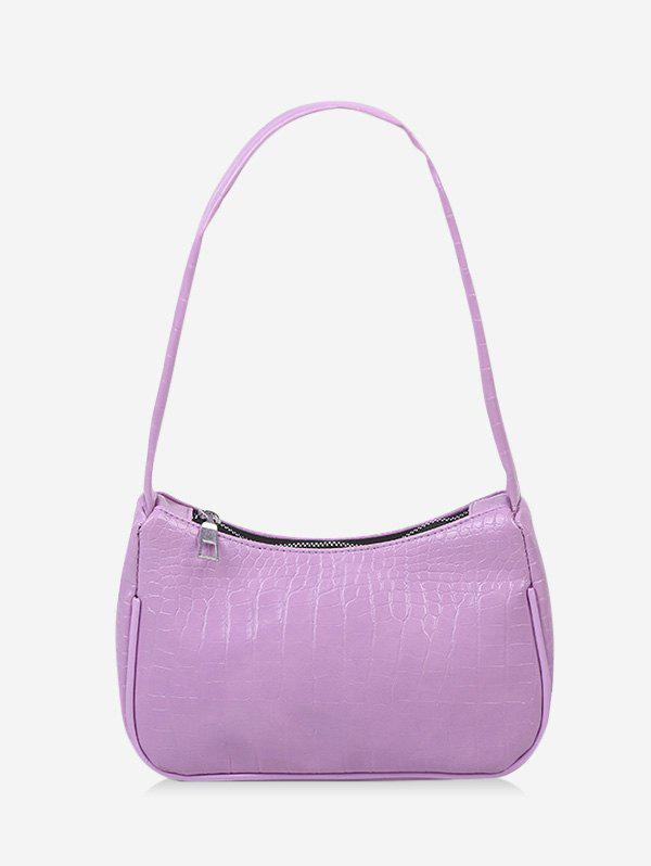 French Style Solid Textured Shoulder Bag - MAUVE