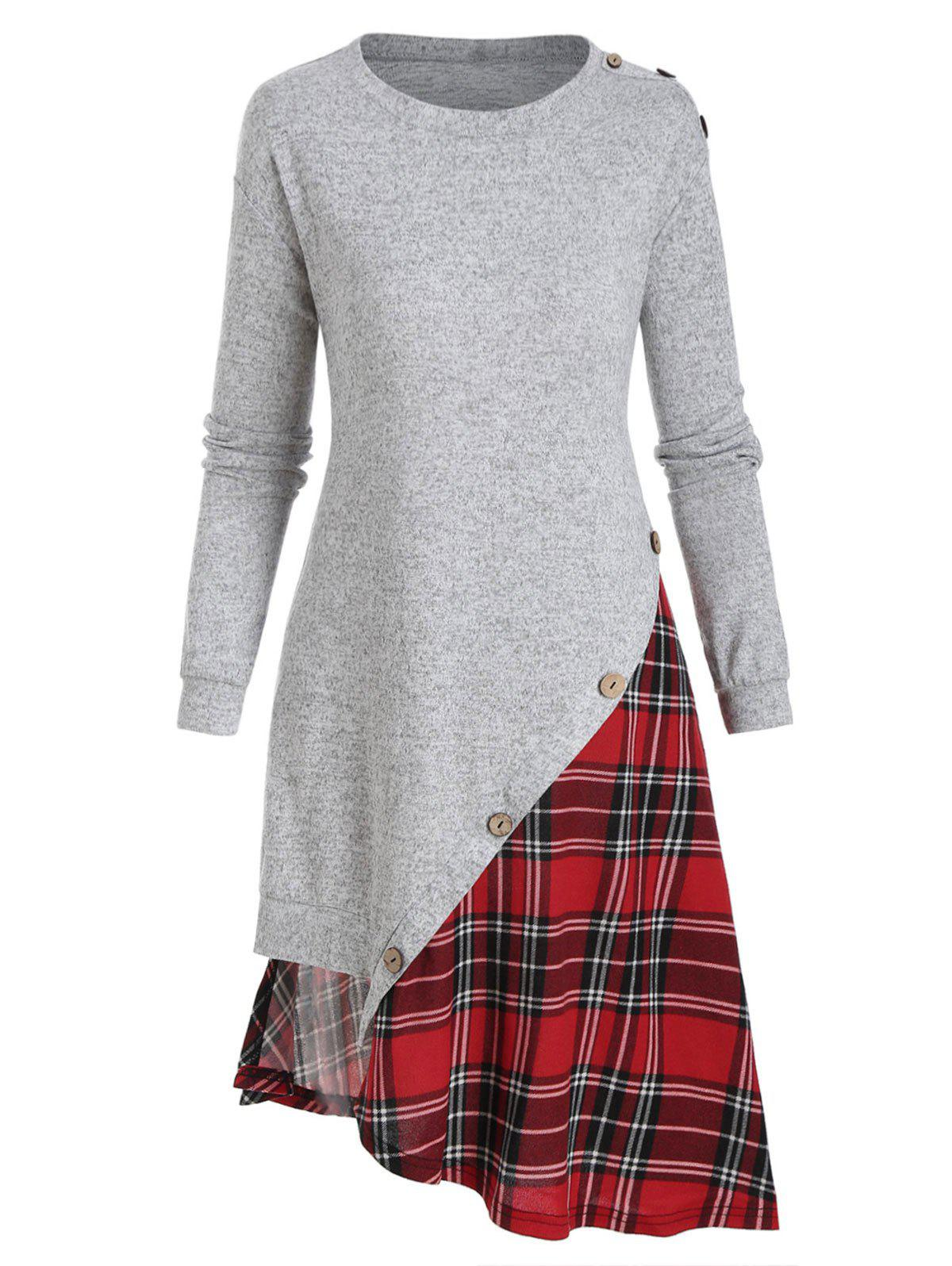 Plaid Panel Buttons Irregular Sweatshirt Dress - LIGHT GRAY 3XL