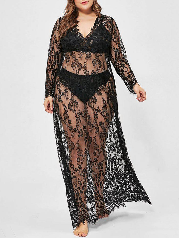 Plus Size Lace Sheer Long Sexy Dress with T-back - BLACK 4XL
