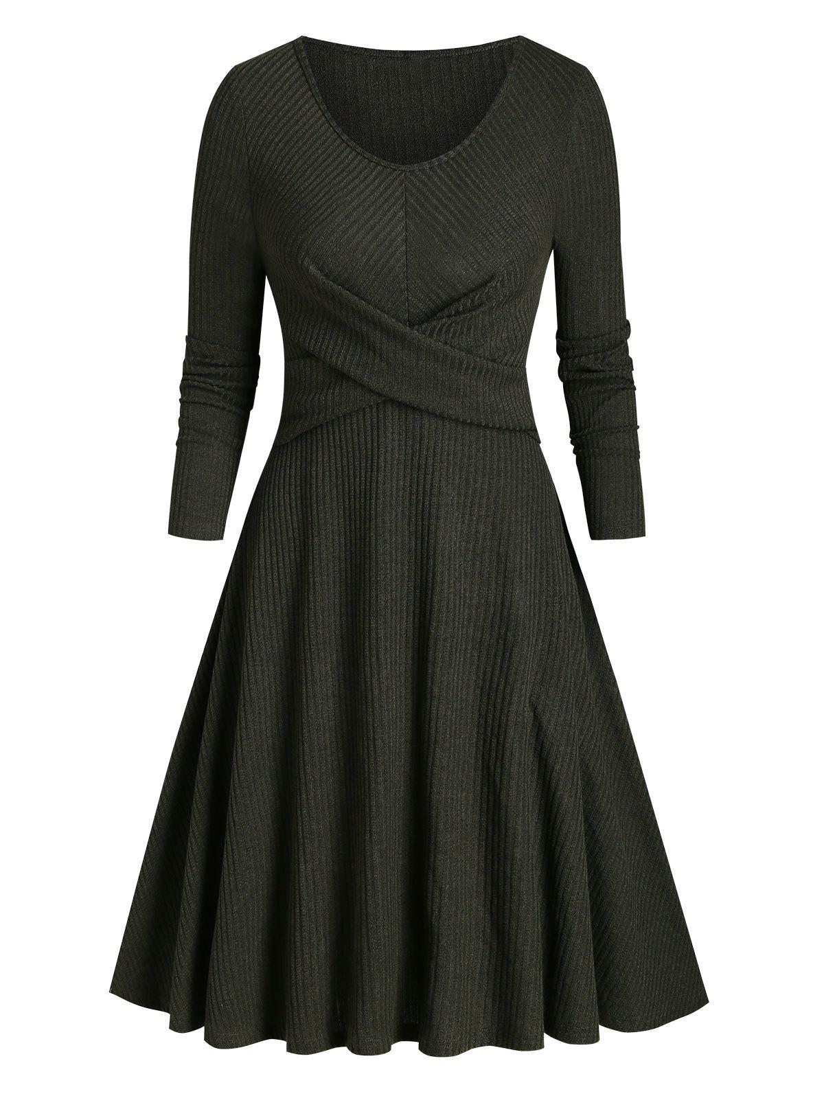 Criss Cross Ribbed Knitted A Line Dress - DARK FOREST GREEN 2XL