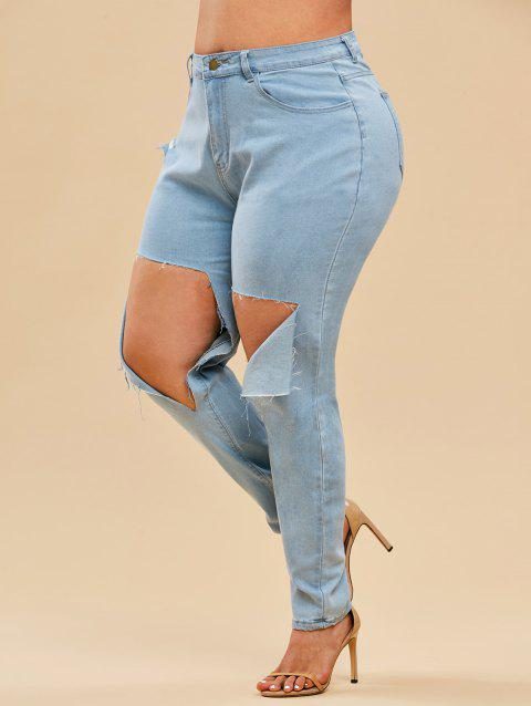Destroyed Light Wash High Waisted Plus Size Skinny Jeans