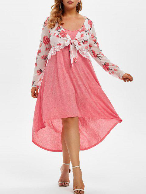 Plus Size Floral Top and High Low Cami Dress Set