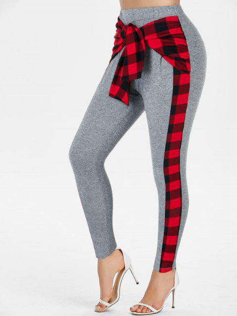Plaid Print Knot Front Button Embellished Pants