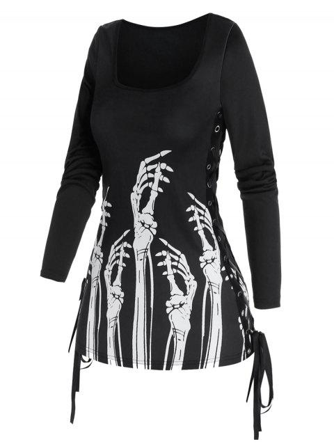 Gothic Lace Up Skeleton Hands Print T Shirt