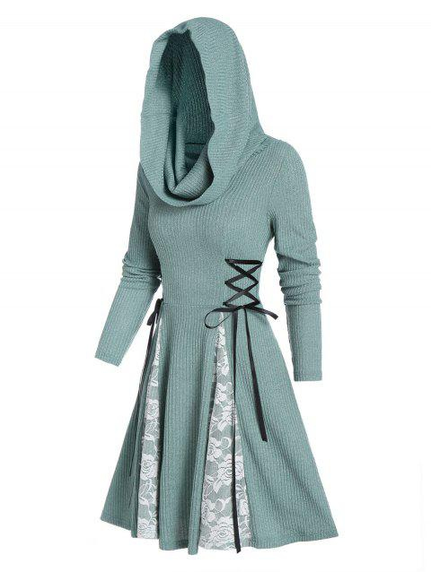 Hooded Lace-up Lace Panel Ribbed Dress