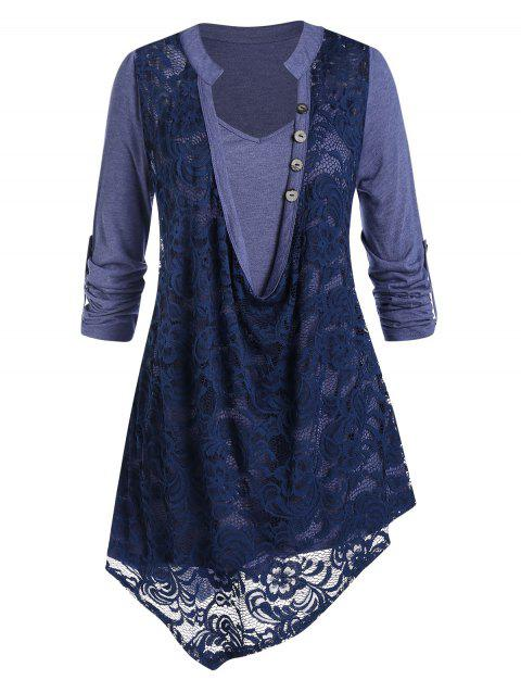 Plus Size 2 In 1 Floral Lace Irregular Blouse
