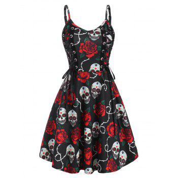 Halloween Skull Flower Lace Up Dress